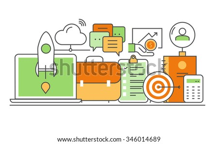 Vector modern thin line flat design of icons set. Business development, successful career, office infographic collection - stock vector