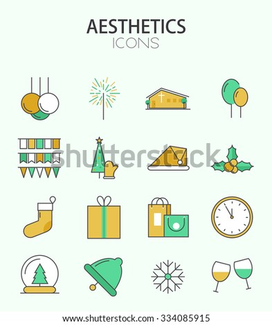 Vector modern thin line flat design of icons set. Christmas and happy new year , infographic collection - stock vector