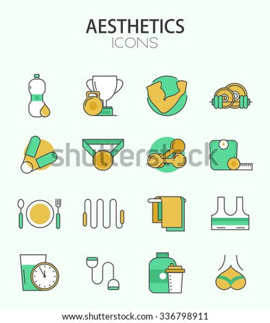 Vector modern thin line flat design of icons set. Fitness and bodybuilding, sport outline infographic collection - stock vector