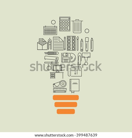 Vector modern thin line flat design of icons set. office outline  idea background - stock vector