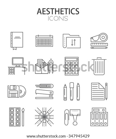 Vector modern thin line flat design of icons set, office outline infographic collection - stock vector