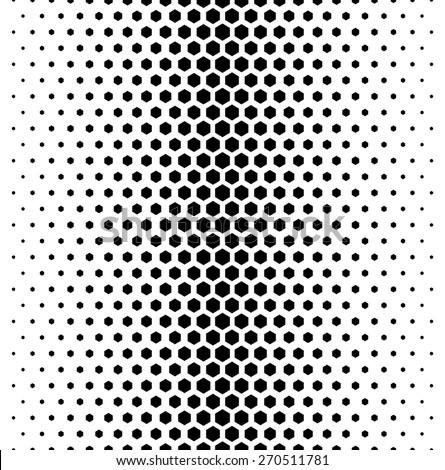 Vector modern tiles pattern. Abstract gradient op art seamless monochrome background with hexagon - stock vector