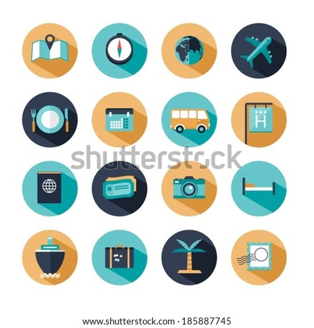 vector modern travel icons - stock vector