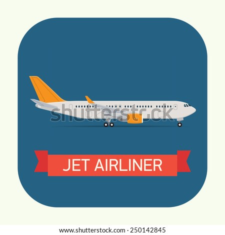 Vector modern travel web icon on transport passenger jet airliner plane, flat design, side view, isolated, round corners - stock vector