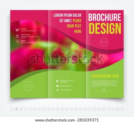 Vector modern tri-fold brochure design template, blurred floral theme - stock vector