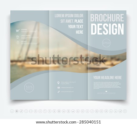 Vector modern tri-fold brochure design template with blurred defocused sailboats on the background - stock vector