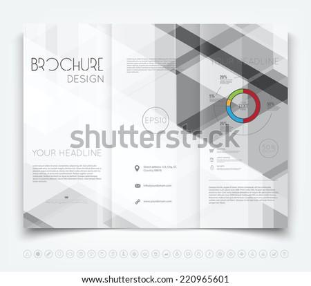Vector modern tri-fold brochure design template with gray hi-tech background - stock vector