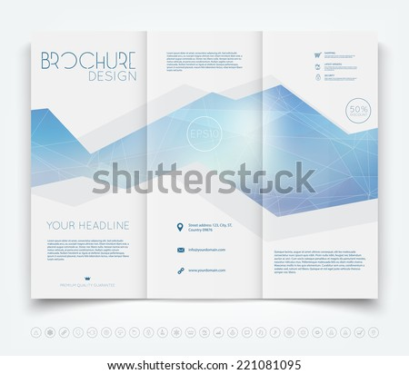 Vector modern tri-fold brochure design template with light blue polygonal background - stock vector