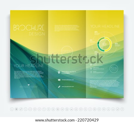Vector modern tri-fold brochure design template with yellow and turquoise smooth colorful background - stock vector