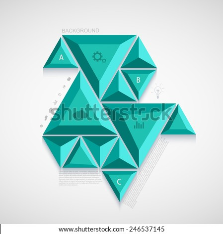 Vector modern triangle infographic design. Business background template - stock vector