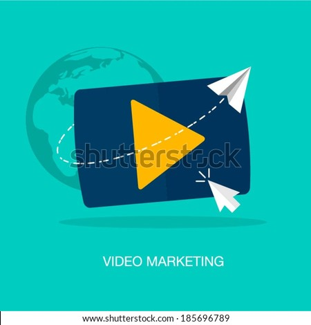 vector modern video marketing concept illustration - stock vector