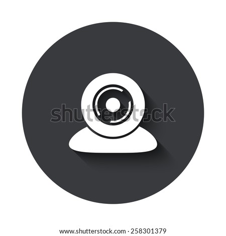 Vector modern web camera gray circle icon on white background - stock vector