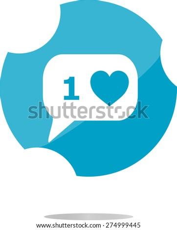 vector modern web icon, flat button design, Like Counter Notification Icon - stock vector