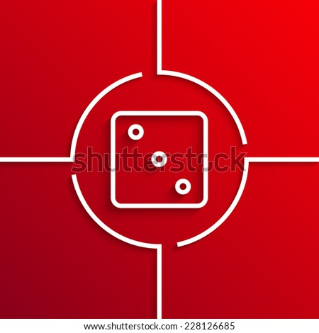 Vector modern white dice circle icon on red background. Eps10 - stock vector