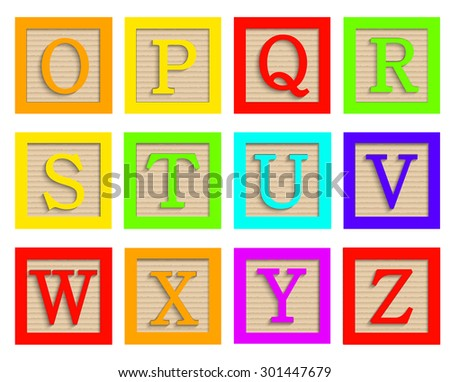 Vector modern wooden alphabet blocks set on white background - stock vector