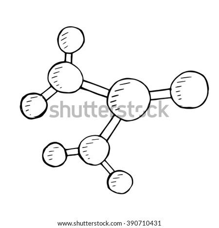 Vector molecular doodle, hand drawn illustration - stock vector