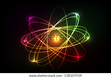 Vector molecule of atom. Looks like plasma, neon or laser. Isolation over dark background. - stock vector
