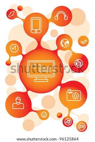 vector molecule structure in orange color with social media icons - stock vector