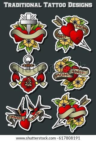 Vector Mom Dad Traditional Tattoo Designs Stock Vector 617808191