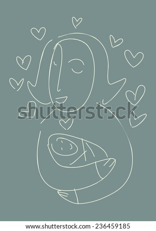 Vector. Mommy, Child's Drawing. A woman and a newborn baby. A mother hugs a baby. - stock vector