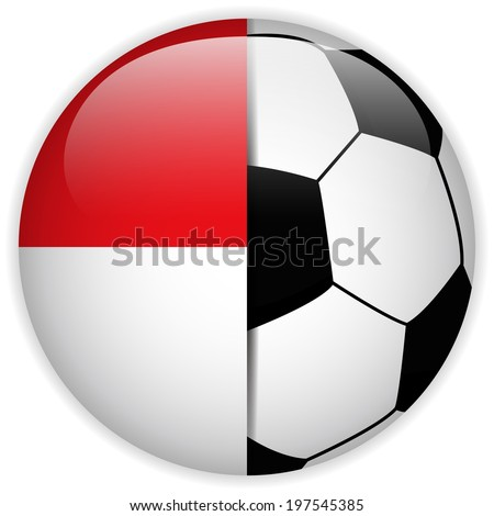 Vector - Monaco Flag with Soccer Ball Background