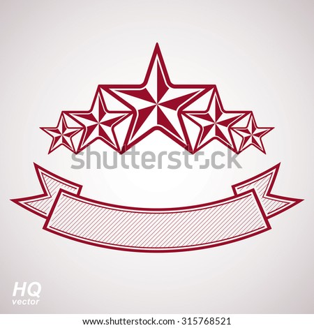 Vector monarch symbol. Festive graphic element with five stars and curvy ribbon, decorative luxury eps8 template. Design element. - stock vector