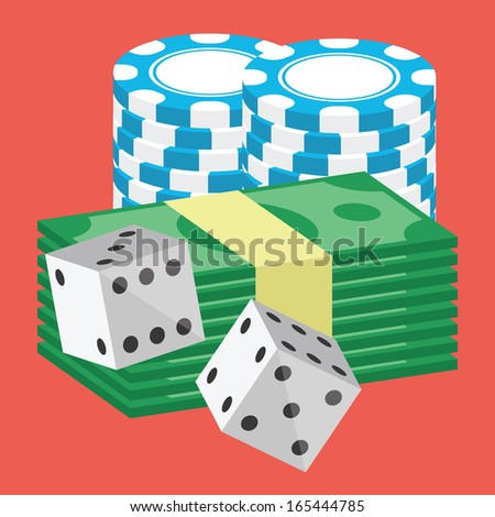 Vector Money and Poker Chips Stacks and Dice Icon - stock vector