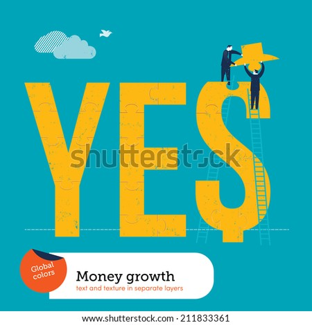 Vector money puzzle missing piece. Vector illustration Eps10 file. Global colors. Text and Texture in separate layers. - stock vector