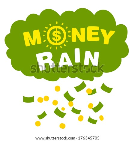 Vector money rain with banknotes and coins on white background - stock vector