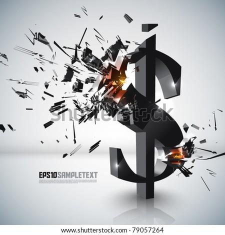 Vector Money Sign Crushing - stock vector