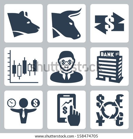 Vector money, stock exchange icons set - stock vector