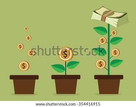 Vector money tree - stock vector