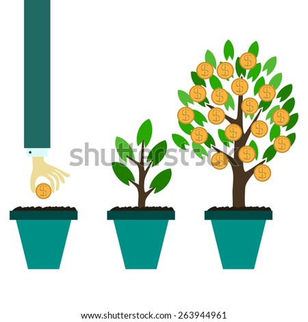 Vector money tree growth concept in flat style - stock vector