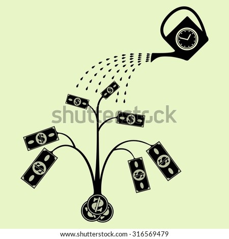 Vector money tree with watering can. Eps 8 - stock vector