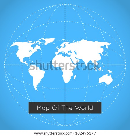 Vector mono blue background illustration of Earth made. Techno map of the world. - stock vector