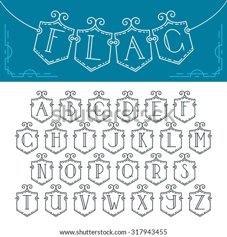 Vector mono line decorative font. Latin alphabet of isolated bunting flags with outline letters. Empty, monochromatic.  - stock vector