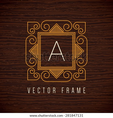 Vector mono line frame. Art deco monogram design element. - stock vector