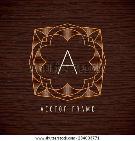 Vector mono line frame. Art deco monogram design template. - stock vector