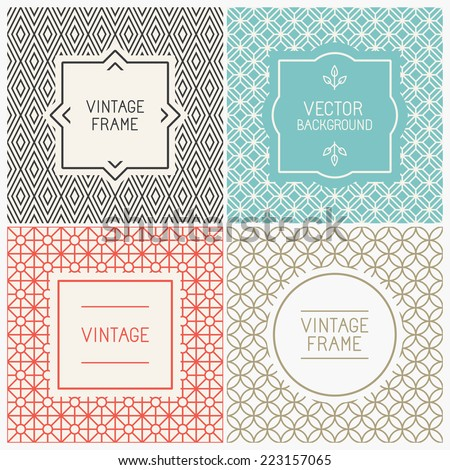 Vector mono line graphic design templates - labels and badges on decorative backgrounds with simple patterns - stock vector