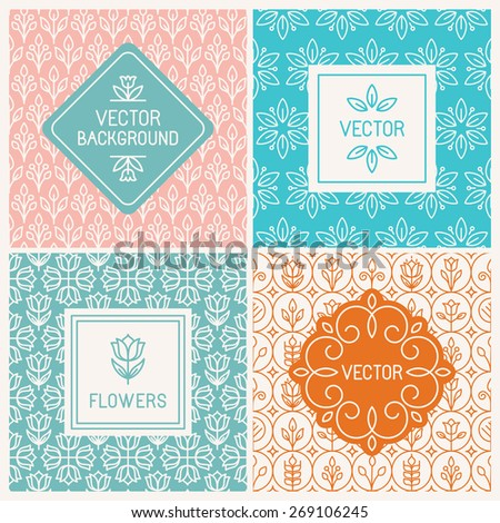 Vector mono line graphic design templates - labels and badges on decorative backgrounds with simple patterns - floral logo design templates - stock vector