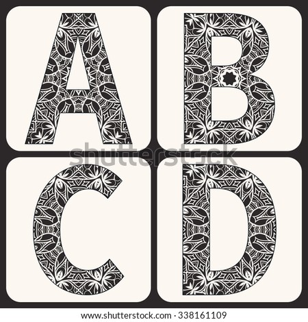 Vector monochrome alphabet, capital letters with floral and geometric ornament, lace pattern. Isolated design elements for scrapbooks, Invitations or Cards, fabric or paper print. Black and white - stock vector