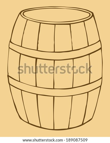 Vector monochrome contour illustration of old wooden barrel
