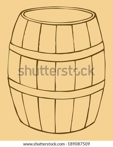 Vector monochrome contour illustration of old wooden barrel - stock vector