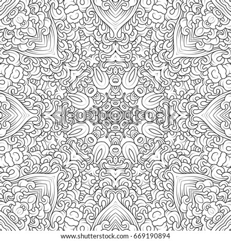 Vector Monochrome Contour Mandala In Tibetan Iconography Style Adult Coloring Books Design