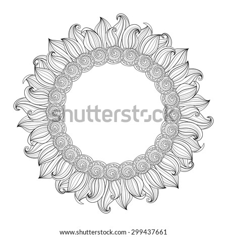 Vector Monochrome Floral Background. Hand Drawn Ornament with Floral Wreath. Template for Greeting Card - stock vector