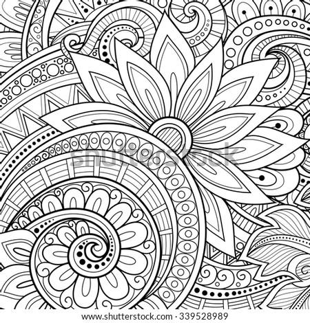 Vector Monochrome Floral Background. Hand Drawn Ornament with Flowers. Template for Greeting Card - stock vector
