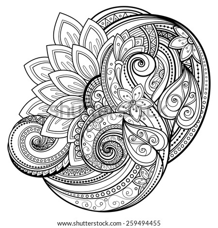 Vector Monochrome Floral Background. Hand Drawn Texture with Flowers - stock vector