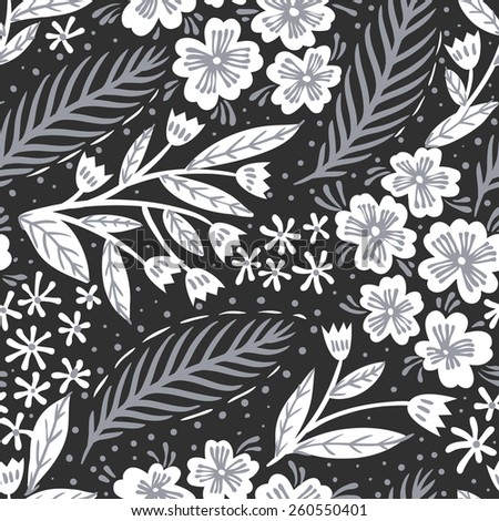 vector monochrome floral seamless pattern  - stock vector