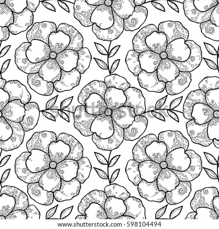 Vector Monochrome Flower Seamless Pattern Cute Abstract Floral Background Scrapbook Paper Black