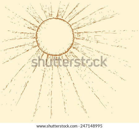 Vector monochrome freehand ink linear drawn backdrop in doodle style. Radiant heat sun glaring at its zenith with space for text - stock vector